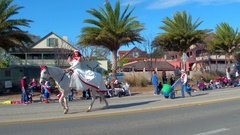 St Augustine Parade princess on a horse Stock Footage