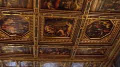 FLORENCE, ITALY: Beautiful ceiling of Palazzo Vecchio. Interior of Palazzo Vecch Stock Footage