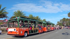 St Augustine Parade Old Town Trolley bus Stock Footage