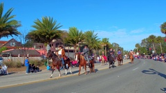 St Augustine Parade cowboys and cowgirls on horses Stock Footage