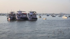 Tourist and fisher boats by the harbour Stock Footage