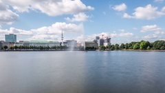 Hamburg Inner Alster Lake with Fountain Hyperlapse Stock Footage