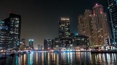 Dubai Marina at night. Enigmatic.Time lapse. Stock Footage