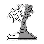 Island palm tree Stock Illustration