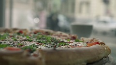 Close Up Abstract Hot Pizza as a Symbol of Fast Food Stock Footage