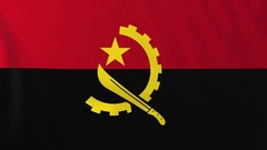 Flag of Angola waving in the wind, seemless loop animation Stock Footage