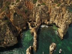 Aerial. Details of the sky, the rocks the Bay Ponta de Piedade. Portugal Lagos Stock Footage