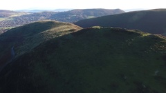 Rising panoramic aerial view over the Long Mynd Valley, UK. Stock Footage