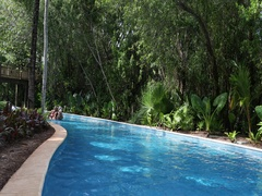 Resort swimming pool tropical jungle Mexico DCI 4K Stock Footage