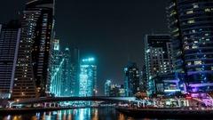 Dubai Marina at night. Time lapse. Stock Footage