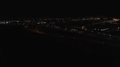 Rising aerial view of Spaghetti Junction in Birmingham at night. Stock Footage