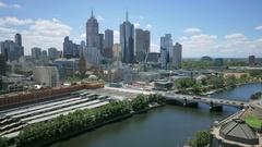 Melbourne Australia skyline cloudscape time lapse Stock Footage