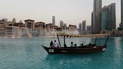 Dubai fountain.Impressive shot. Stock Footage