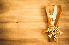 Winter Table Setting. Christmas Culinary Background. Stock Photos
