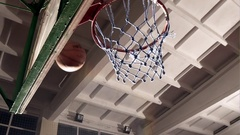 Basketball going through the basket at a sports arena Stock Footage