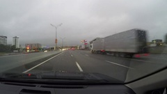 Points of view on road from car. Outside of city. Cloudy. Rain Time lap Stock Footage