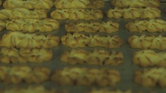 The finished cookies on a sheet of pastry Stock Footage