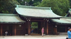 Pan view of Meiji Shrine main building, Japan landmark Stock Footage