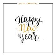 Happy New Year gold text isolated Stock Illustration