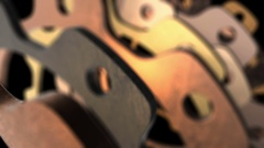 Textured metallic gear close up with animated focus distance Stock Footage