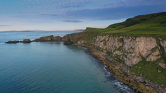 The view of the cliff in Carrick-a-Rede in Ireland Stock Footage