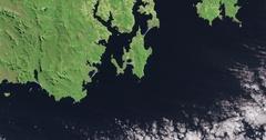 High-altitude overflight aerial of the southeastern coast of Tasmania, Australia Stock Footage