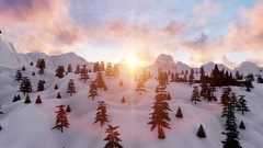 Hogwards castle at sunset,snowy mountains Stock Footage