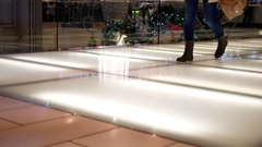 Motion of people walking at food court area inside Burnaby shopping mall Stock Footage