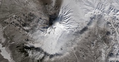High-altitude overflight aerial of Shiveluch volcano, Kamchatka Peninsula Russia Stock Footage