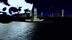 Statue of Liberty against big moon Stock Footage