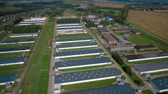 Aerial view of Industrial chicken house Stock Footage