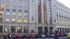 PRAGUE, CZECH REPUBLIC - DECEMBER 3, 2016. Czech National Bank main office. 4K Stock Footage