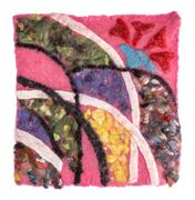 The mat of felted wool with an abstract pattern Stock Photos