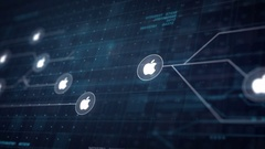 Apple Icon Line Connection of Circuit Board Loop Animation 4K Stock Footage