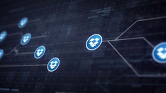 Dropbox Icon Line Icon Connection of Circuit Board Loop Animation 4K Stock Footage