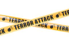 Terror Attack Caution Barrier Tapes, 3D rendering Stock Illustration