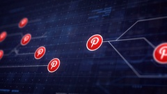Pinterest Icon Line Connection of Circuit Board Loop Animation 4K. Editoria.. Stock Footage