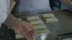 Laying pastry sandwich on sweet leaf Stock Footage
