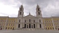 Monumental Baroque and Italianized Neoclassic mafra national palace portugal 4k Stock Footage