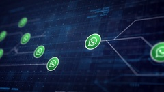 Whatsapp Icon Line Connection of Circuit Board Loop Animation 4K. Editorial.. Stock Footage
