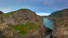 The amazing landscape view of the Carrick-a-Rede in Ireland Stock Footage