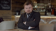 Frustrated businessman shows his displeasure Stock Footage