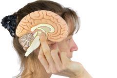 Woman holding hemisphere model  against head on white Stock Photos