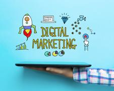 Digital Marketing concept with a tablet Stock Illustration