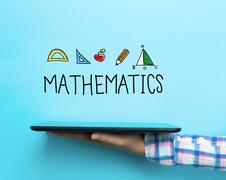 Mathematics concept with a tablet Stock Illustration