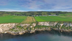 Amazing view of the Carrick-a-Rede cliff in Ireland Stock Footage