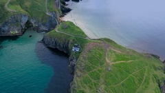 The aerial view of the two islands in Carrick-a-Rede in Ireland Stock Footage