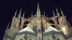 Saint Vitus Cathedral at night, low angle view. Prague, Czech Republic. 4K Stock Footage
