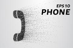 Phone from the particles. The phone consists of circles and points. Vector .. Stock Illustration