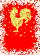 Golden glitter rooster with sparkles and stars. Piirros
